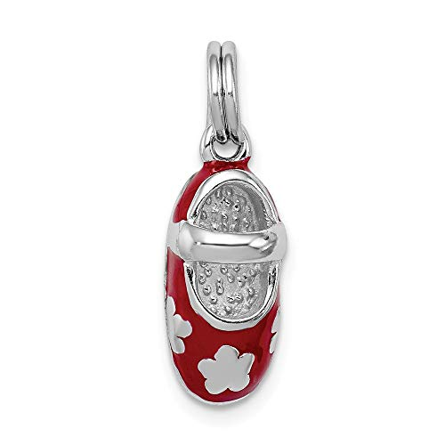 925 Sterling Silver Red Enamel Shoe Pendant Charm Necklace Baby Fine Jewelry Gifts For Women For Her