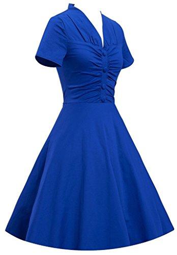 Eyekepper Vestidos de oscilación del cóctel corta para mujer de la vendimia de la manga del cuello de V Azul