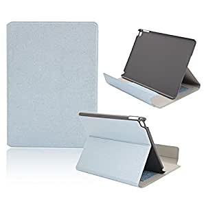 Edge Covered Golden Armor Series Plug-in Card Stand PU Leather shield Case for iPad Air 2 Light Blue