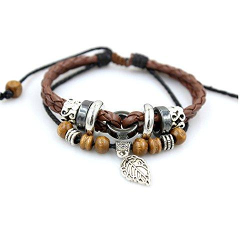 Red Dandelion Personalize Retro Leaf Wood Beads Adjustable Unisex Braided Bracelet (Rubix Cube Storage Bag)