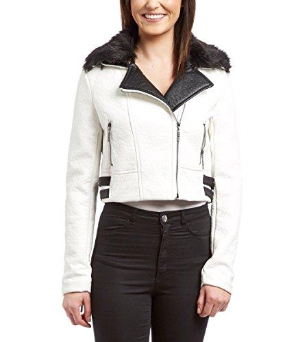 La Belle Roc Broken Heart Moto Jkt w/Faux Fur White (De Extremo A Extremo Halloween)