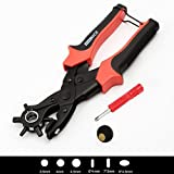 WoneNice Revolving Leather Hole Puncher-2 Years Warranty -Professional Heavy Duty Belt Hole Puncher Tool - Multi Sized Puncher Pliers - Ideal for Belts, Crafts, Card, Plastic, Felt, Rubber etc