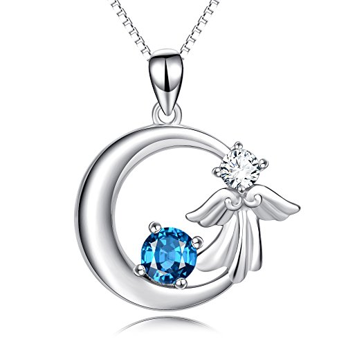 Angel Solid Sterling Silver Necklace - YFN Angel Wings Crescent 925 Sterling Silver Blue Crystal Pendant 18