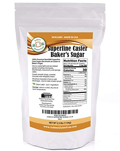 Judees Superfine Caster Bakers Sugar (2.5 lbs) Non-GMO ~ Made in USA ~ Packaged in a Gluten and Nut Free Facility