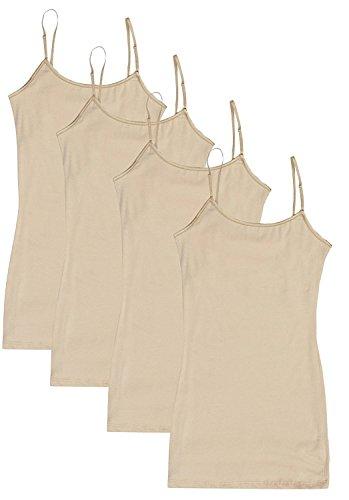 (4 Pack Active Basic Women's Basic Tank Tops - 4Pack: Beige, Medium )