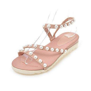 Sandalias Primavera Verano Otoño Slingback PU Oficina & Carrera parte & traje de noche bajo el talón cordón Blushing Pink