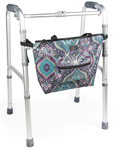 Walker Bag Walker Accessories Bag - Multiple Purpose Wheelchair Accessories for Walkers Rollators Scooters Wheelchairs - Walker Bag with Handles (Blue)
