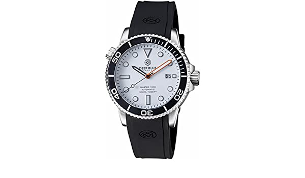 Amazon.com: Deep Blue MASTER 1000 Automatic Diver Watch 44mm Case Blk Bezel White Gloss Dial: Watches