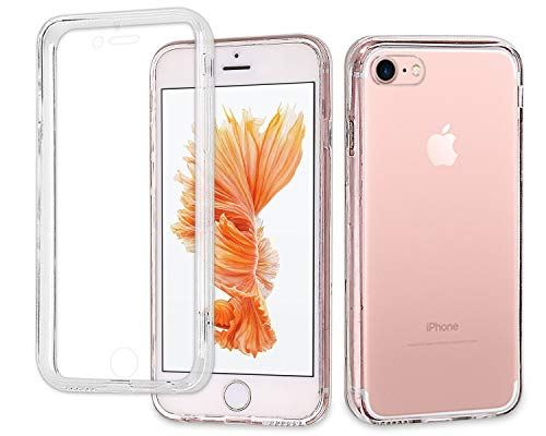 Casetego Compatible iPhone 8 Case,iPhone 7 Case,360 Full Body Two Piece Slim Crystal Transparent Case with Built-in Screen Protector for Apple iPhone ()