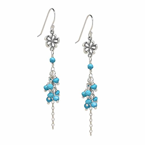 Sleeping Beauty Turquoise Earrings in Sterling Silver, Flower