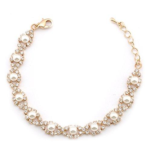 (Topwholesalejewel Wedding Bracelet Gold Plating Faux Pearl Link Bracelet)