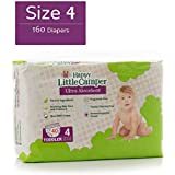 Happy Little Camper Ultra Absorbent Hypoallergenic Natural Diapers, Size 4 (22-37 lbs), 160 Count, Monthly Supply Bulk Pack
