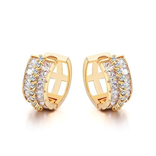 Ohrstecker Klappbügel Ohrringe Damen - 18K Vergoldet - AAA Zirkonia