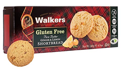 Walkers Shortbread Gluten-Free Pure Butter Ginger & Lemon Shortbread, 4.9 Ounce Box (Pack of 6) Simple Pure Butter Gluten Free Shortbread Cookies from the Scottish Highlands