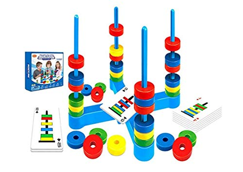 Magnetic Match Rings Board Game for 4 Kids Ages 3-8 Players Draw Cards to Place Rings with Attracting or Repelling…