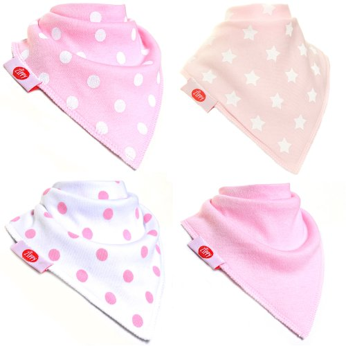 Zippy Fun Baby and Toddler Bandana Bib - Absorbent 100% Cotton Front Drool Bibs with Adjustable Snaps (4 Pack Gift Set) Girls Pink and White