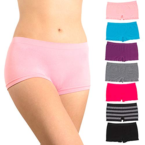 (Alyce Intimates, Seamless No Show Womens Boyshort Hipster Panty, Pack of 7)