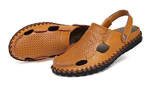 Onfly Hombres Chicos Estilo británico Dedo del pie cerrado Cuero Casual Sandalias Zapatillas Antideslizante Respirable Para caminar Al aire libre Sandalias Zapatos de agua Zapatillas de deporte ocasio Yellow