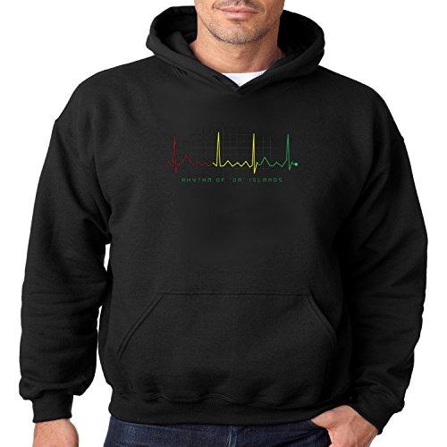 Reggae Hoodie Rhythm Of Da Islands Mens Hooded Sweatshirt S-3XL (Black, ()