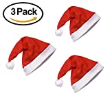GUSOBO Santa Hat,Red Velvet Christmas Hat With Plush Trim Party Costume For Adults and Kids,3pcs