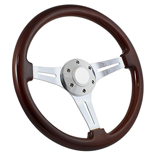 14 Inch Slotted 3 Spoke Steering Wheel Dark Wood Grip - Plain Column Wrap
