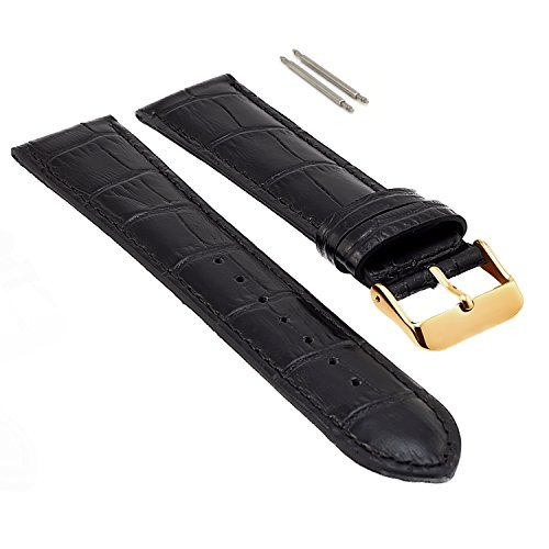 22mm Black Leather Watch Band for Men, Gold Buckle, Leather Watch Bands for Men, Genuine Leather Watch Strap, Extra Long XL, Crocodile Print Leather, 2 Free Pins, Easily Changeable