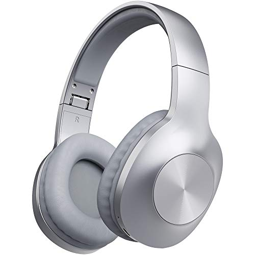 Bluetooth Headphones, LETSCOM 100 Hours Playtime Wireless Headphones Over Ear with Deep Bass, Hi-Fi Sound and Soft Memory Protein Earpads for Travel/Work -Silver