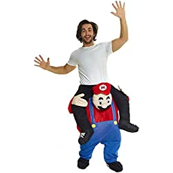 MorphCostumes Unisex Piggy Back Red Plumber Piggyback Costume - With Stuff Your Own Legs