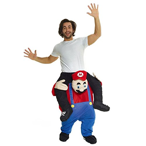 Morph Unisex Piggy Back Red Plumber Piggyback Costume - with Stuff Your Own Legs