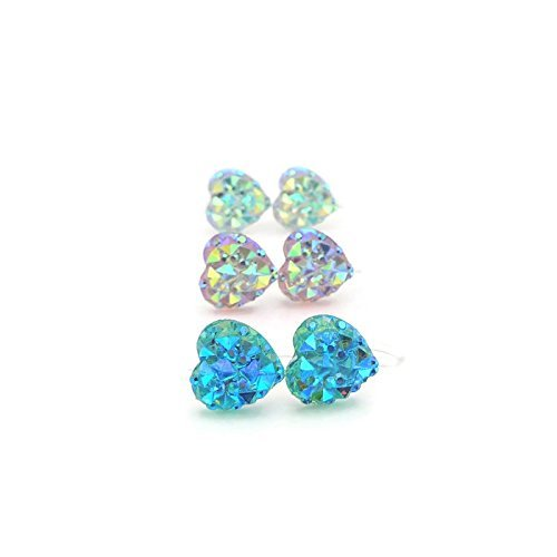 Trio Gift Set, Sparkly Heart Earrings Invisible Clip On, Aqua, Pale Pink, Clear