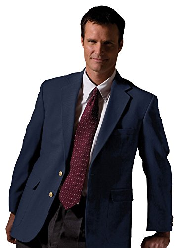 Hopsack Navy Blazer - Edwards Men's Hopsack Wool Blend Blazer, NAVY, 40