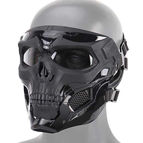 Hamkaw Skull Airsoft Mask Face Protective Airsoft Mask Costume with Goggle Eye Protection and Adjustable Strap for CS Game and Cool Scary Ghost Halloween -