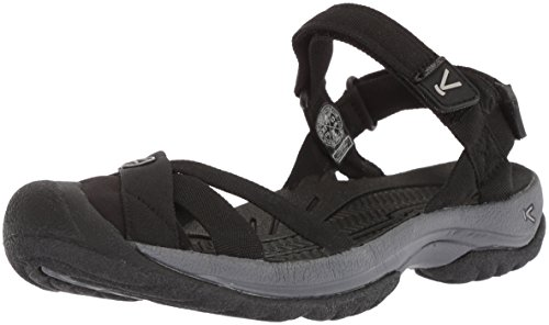 KEEN Women's Bali Strap-W Sandal, Black/Steel Grey, 8 M US
