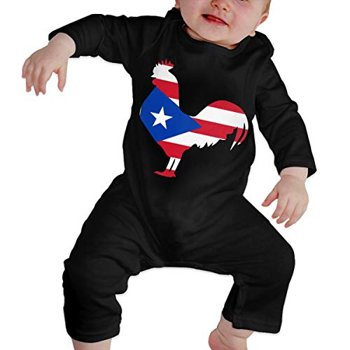 (Newborn Baby Girls Boys Long Sleeve Bodysuit, Cute Puerto Rico Flag Rooster Cotton Crawler Black)
