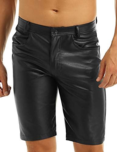 MSemis Black Mens Faux Leather Boxer Shorts Half Pants Pockets Hip Hop Cargo Sports Shorts Clubwear Black Medium (Leather Shorts Men)