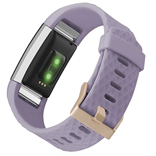 UMAXGET for Fitbit Charge 2 Band Accessory, Sport Silicone Replacement Wristband with Rose Gold Buckle for Women Men Light Purple Small