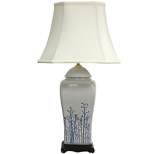 Oriental Furniture 26'' Blue & White Spring Forest Porcelain Vase Lamp by ORIENTAL FURNITURE