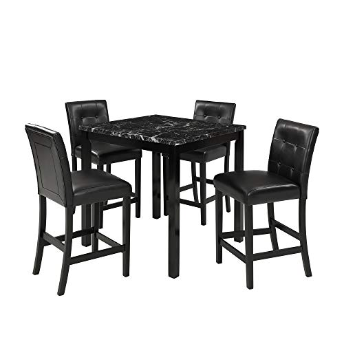 Marble Top Counter Table - LOKESI Kitchen Table Set, 5-Piece Marble Top Counter Height Dining Table Set with 4 Leather-Upholstered Chairs (Black)