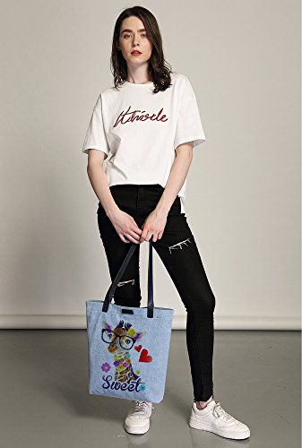 Shoulder Dye Women's Sweet So'each Shopper Bag Handbag Giraffe Tote Bleu Love Denim T8Xqqfw4x