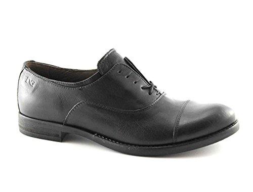 BLACK JARDINES 16140 mujeres zapatos negros de punta abarcas de cuero Nero