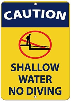 Sar54ryld Schild mit Aufschrift Caution Shallow Water No Diving, Aluminium, 30 x 45 cm