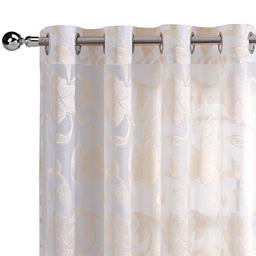 DWCN Sheer Curtains Faux Linen Floral Jacquard Semi Voile Drapes Window Curtains for Bedroom 52 x 84 Inches Long, Set of 2 White and Beige