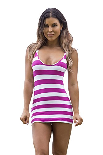 Wicked Weasel Sailor Stripe Dress 565  Small  Fuchsia