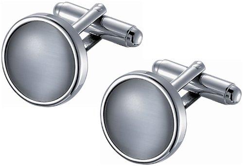 Visol Round Gray Catseye Cufflinks in Stainless Steel Frame