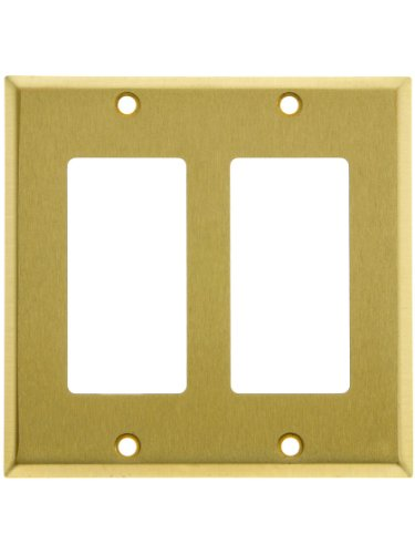 Classic Double Gang Gfi Cover Plate In Satin Brass. Switchplate.