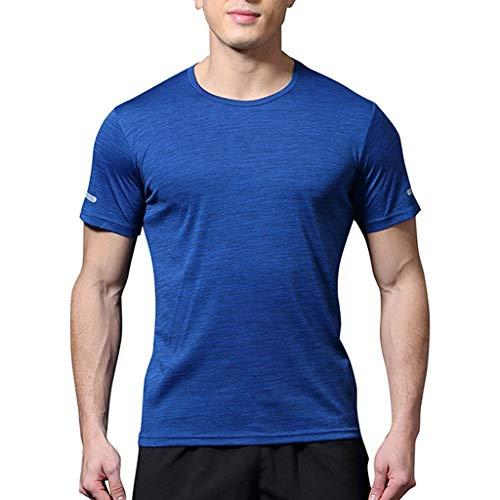 JJLIKER Men's Big & Tall Short Sleeve Moisture Wicking Athletic T-Shirts Solid Crewneck Tops Sports Fitness Basic Tees Blue