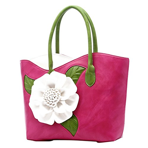 (ABage Women's PU Leather Purse Vintage 3D Flower Tote Top Handle Crossbody Handbag, Rose Red)