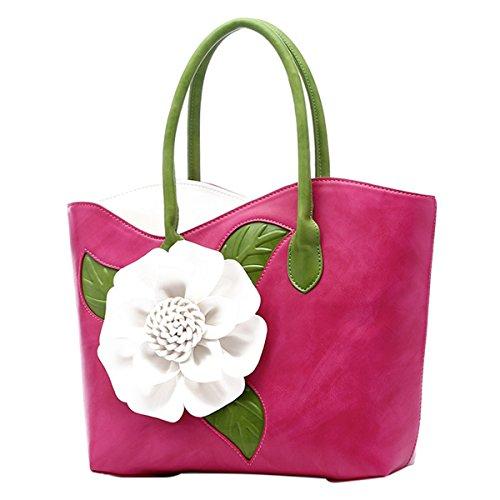 ABage Women's PU Leather Purse Vintage 3D Flower Tote Top Handle Crossbody Handbag, Rose Red (Handbags Purses And Flower)