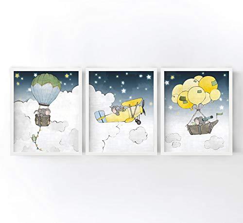 11x14 Borderless Matte Heavyweight Paper - Elephant Nursery Art Prints - Sky Adventures Set of 3 - Hot Air Balloon, Airplane, and Boat/Balloons, Elephant Kids Room Decor, Animal Nursery Art