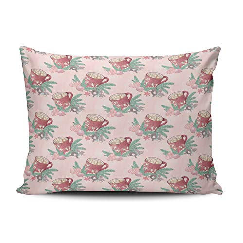 - DOUMIFA Fashion Custom Home Decoration Pillowcase Christmas Mug Pattern Aqua and Coral Pink Throw Pillow Cover Cushion Case Design One Sided Printed Boudoir 12x16 Inches